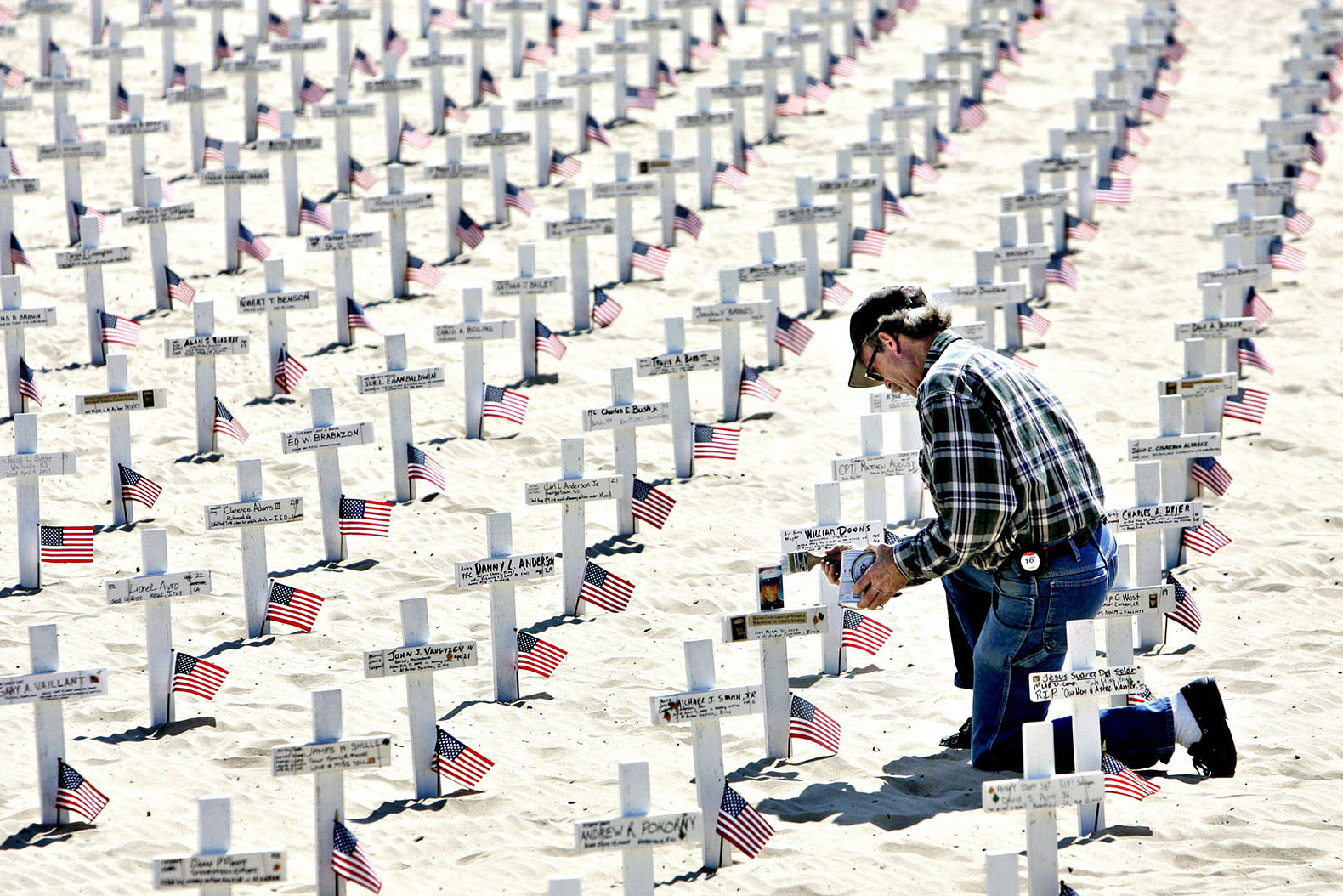 A war protest in Santa Barbara: A cross for every American soldiers that has died in Iraq and Afghanistan.