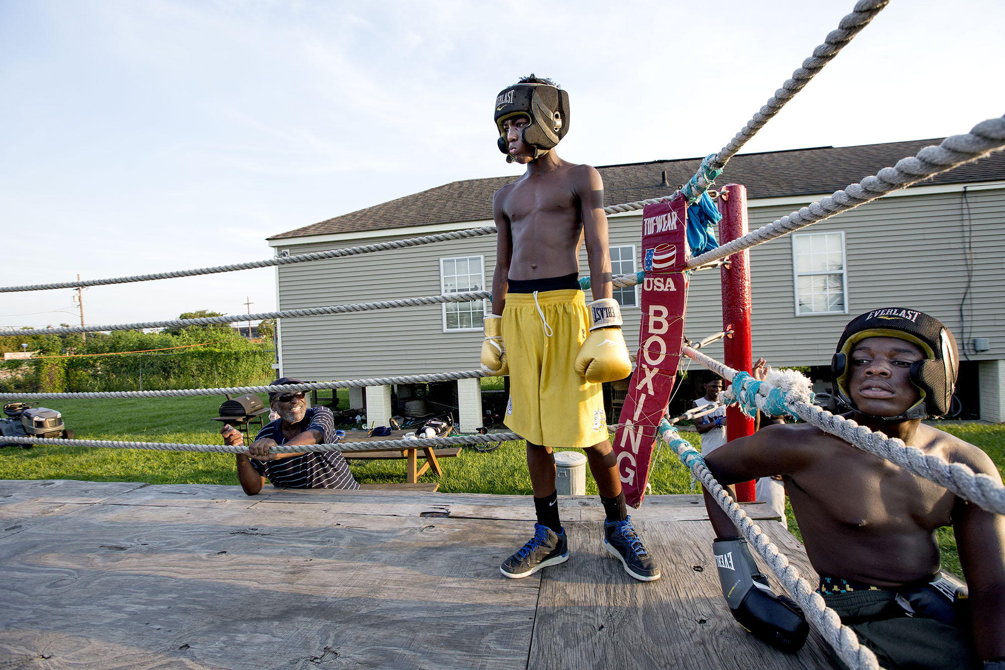 "Lower Ninth Ward: Harry Sims is running a boxing club in his backyard to ""keep the kids out of trouble""."