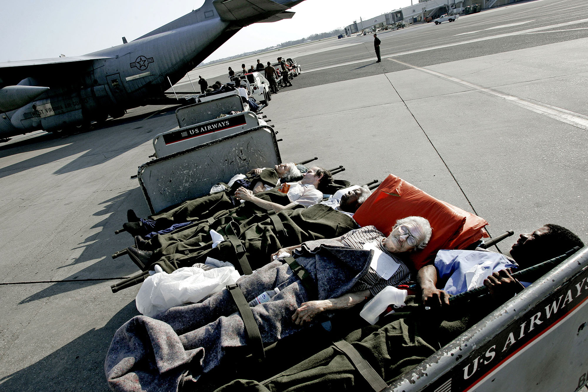 Injured people are flown out to hospitals in other cities.