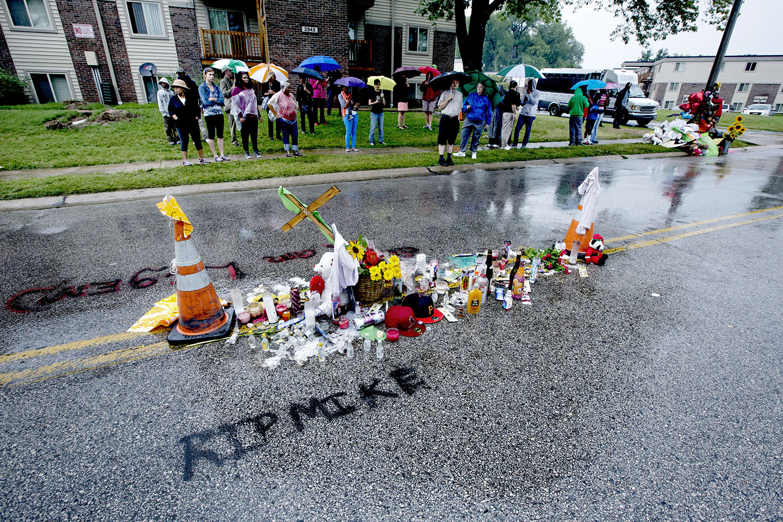 August 2014: There are flowers on the spot where unarmed 18-year-old African American Michael Brown was shot and killed by the police.