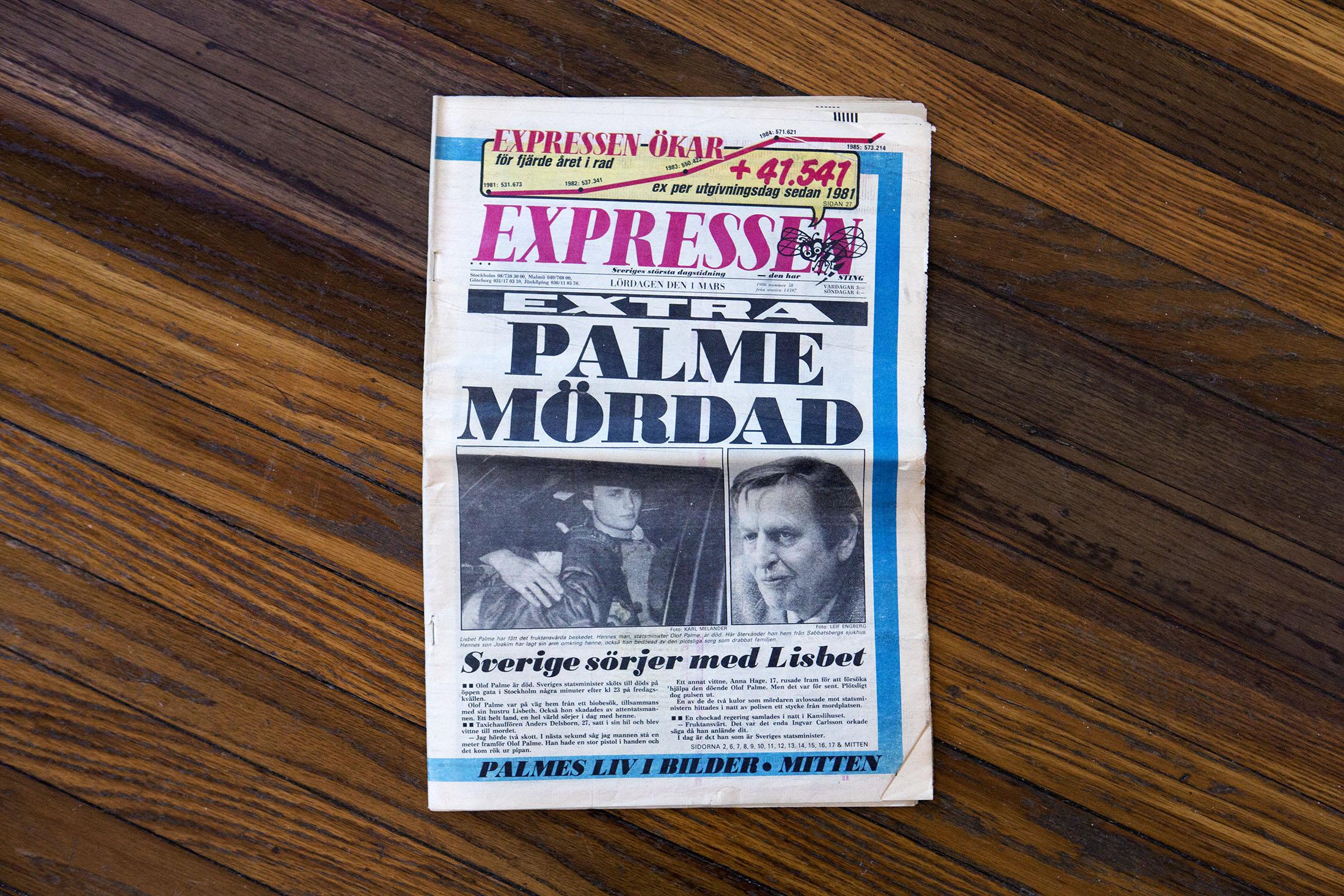 Expressens förstasida den 1 mars, 1986. Jag höll på att missa flyget till Sundsvall för att de hade så många extra kvällstidningar att flyga upp dit vilket gjorde att planet blev för tungt och vissa av passagerarna var tvugna att ta nästa plan.