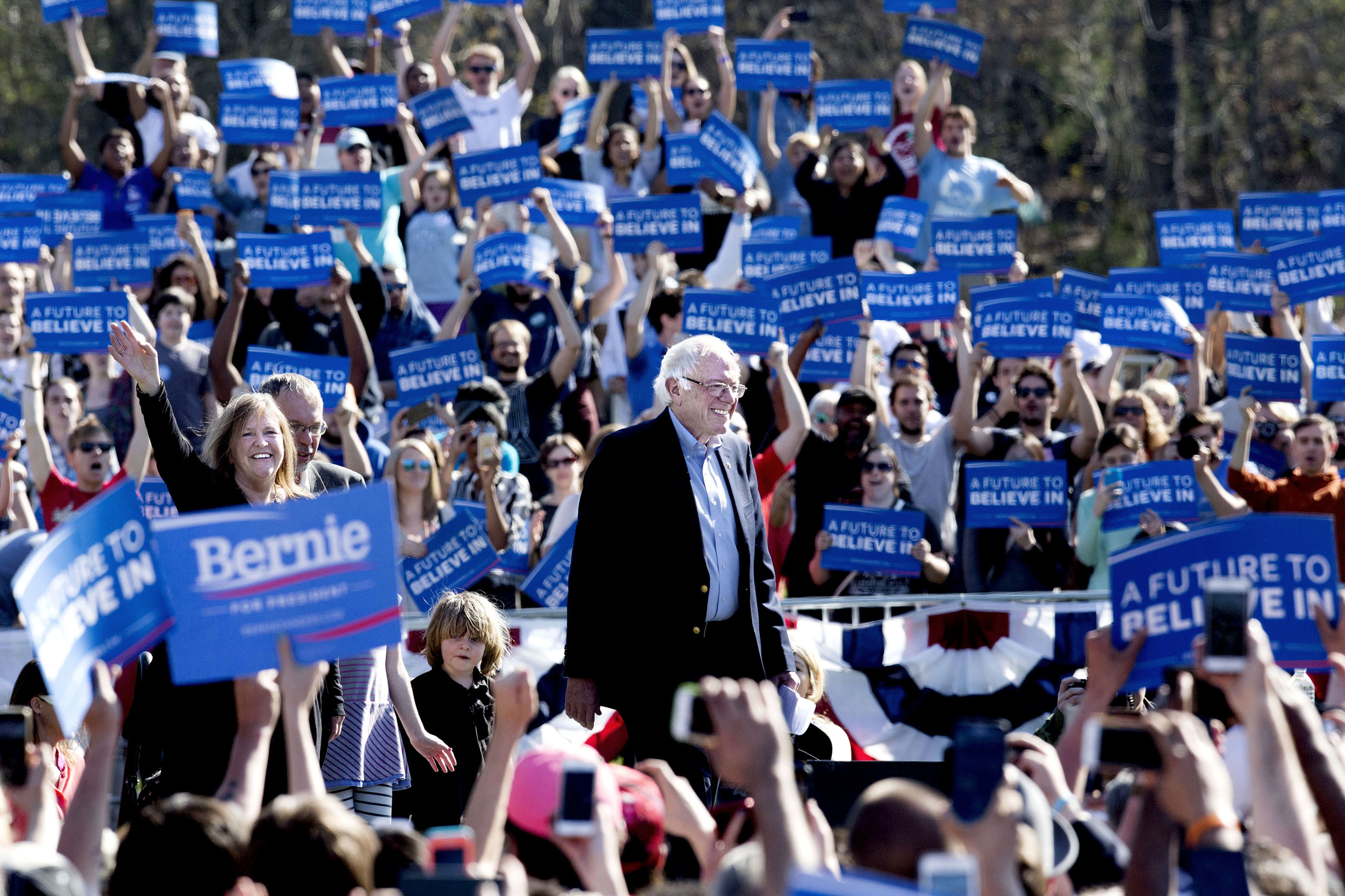 Bernie Sanders och hans fru Jane i Prospect Park, Brooklyn.
