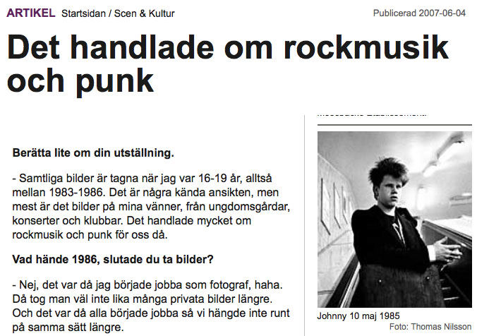 June 2007: Interview in  Allt om Stockholm  about the exhibition Tidernas Generation.