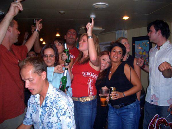 Cruise ship crew bar party
