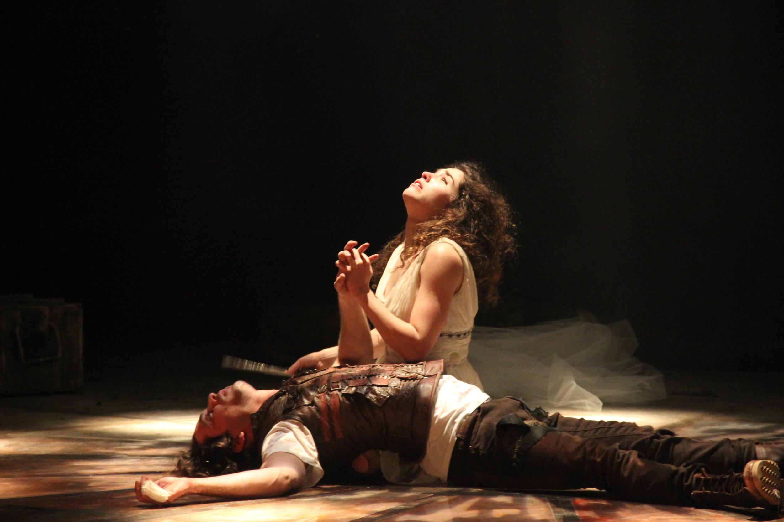 "Avigile Harari and Tom Avni in Beersheba Theatre's  Romeo and Juliet  ("" Romeo veYulia 3285 "" by Ma'ayan Kaufman; CC BY-SA 3.0)"