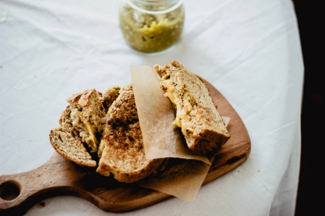 Hatch Chile grilled cheese in homemade wheat bread | fit for the soul