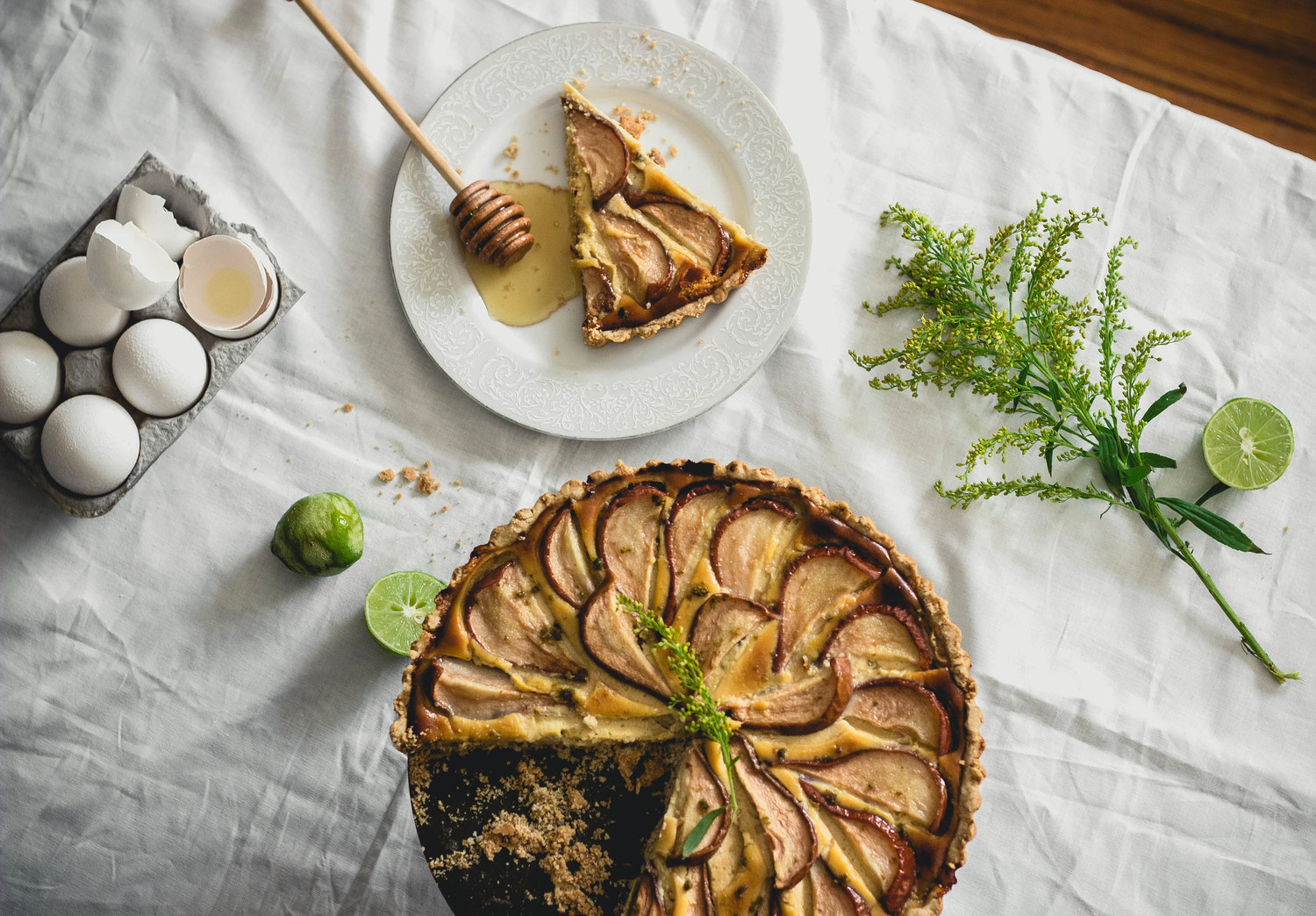 Honey Pear Tart with pastry cream and an oat crust {gluten free} | fit for the soul