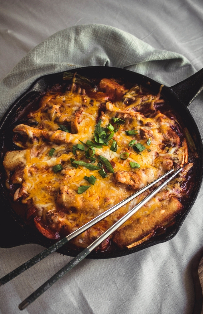 Cheese Tteokbokki in cast iron skillet with homemade brown rice tteok | fit for the soul