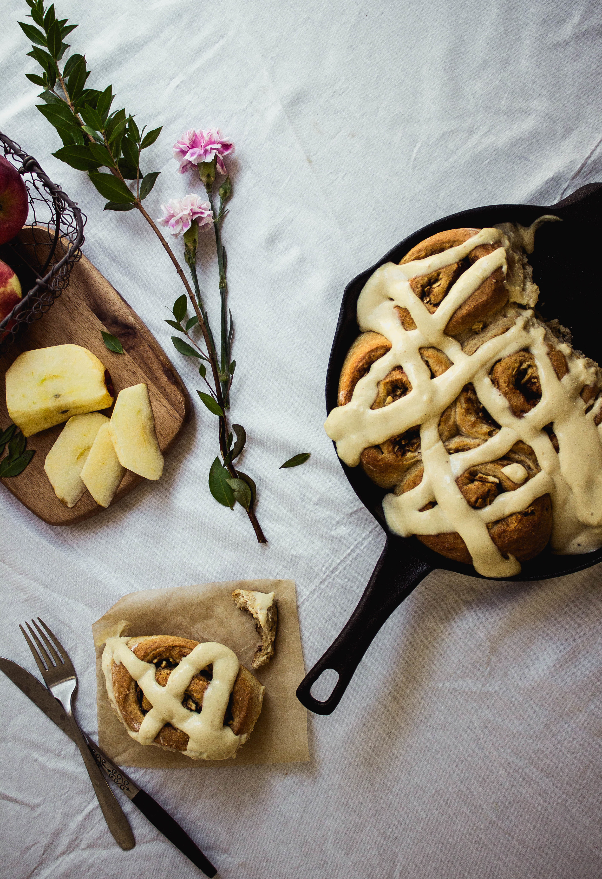 Apple wheat cinnamon rolls with pastry icing | fit for the soul.com