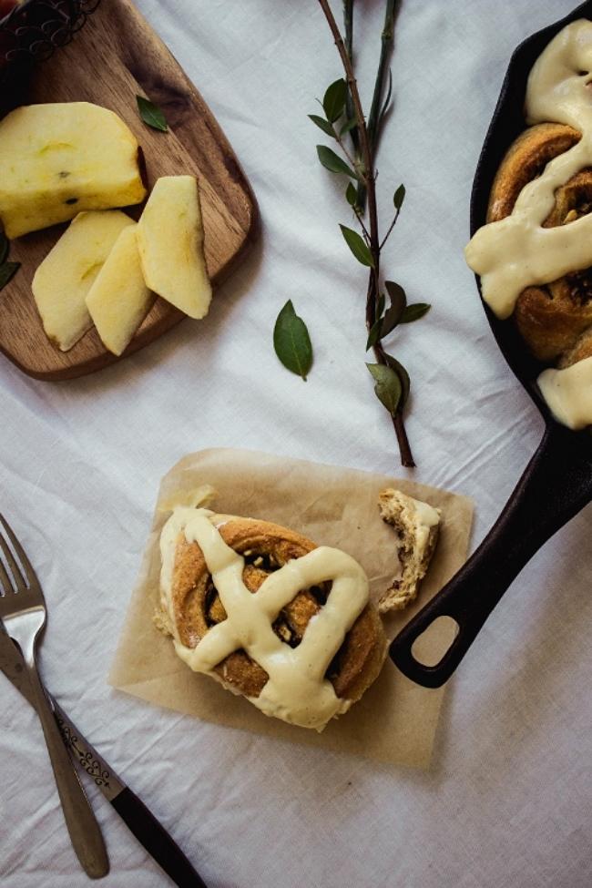 Apple wheat cinnamon rolls with pastry icing photo setup.jpg