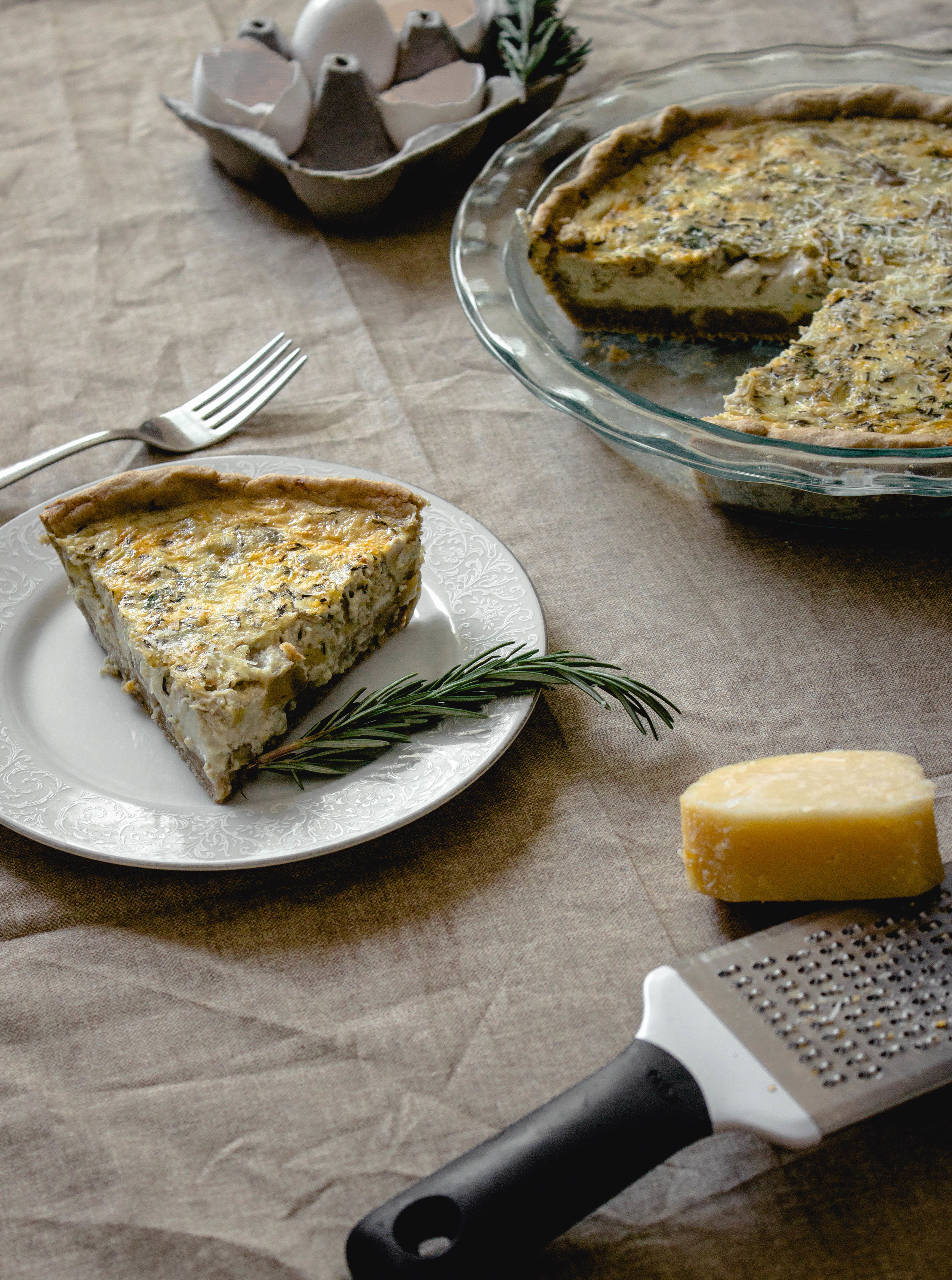 Hatch Chile Quiche with an Oat Crust Food Photo Setup by Fit for the Soul