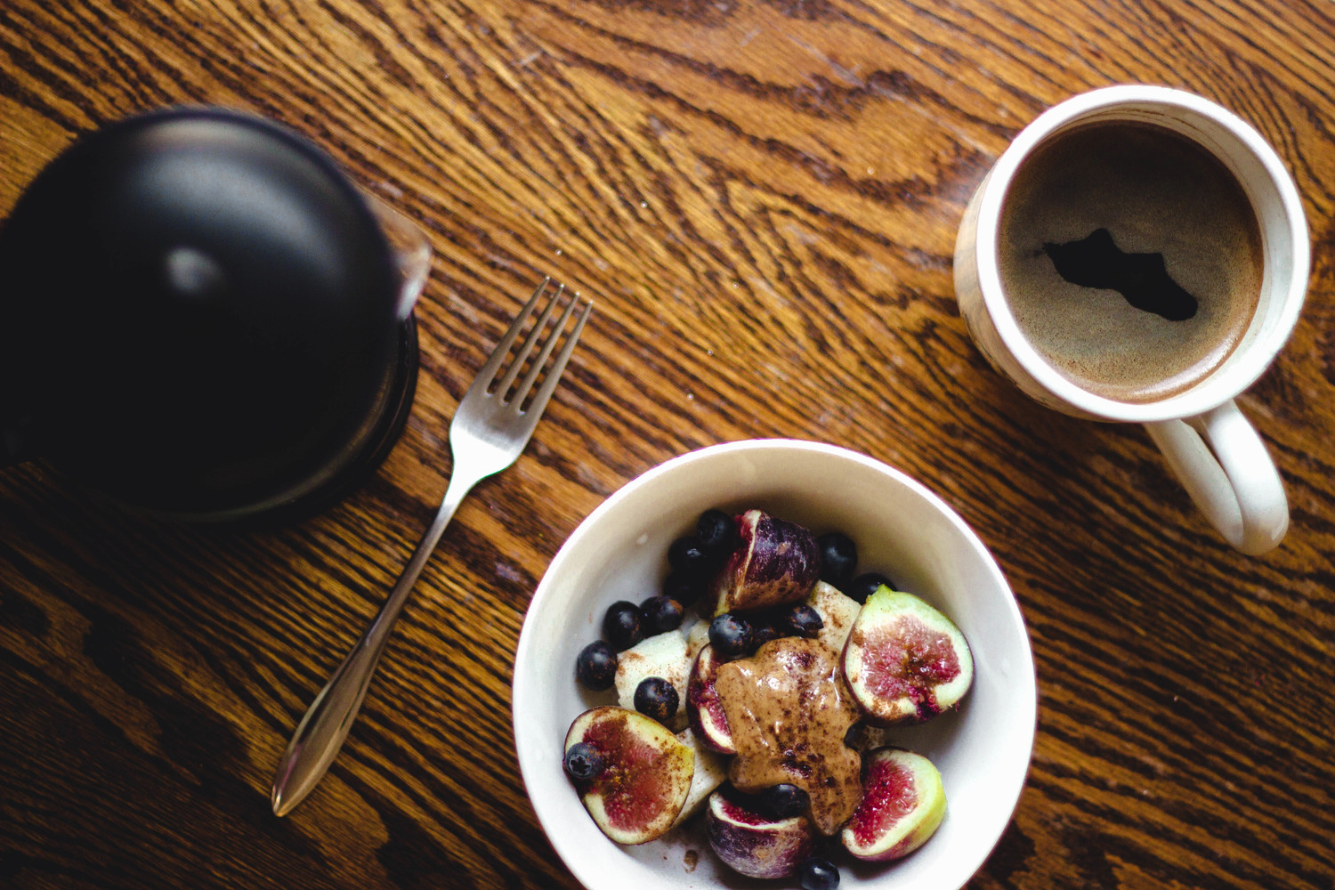 Raw breakfast--Groundwork coffee and bowl of fresh fruit | fit for the soul