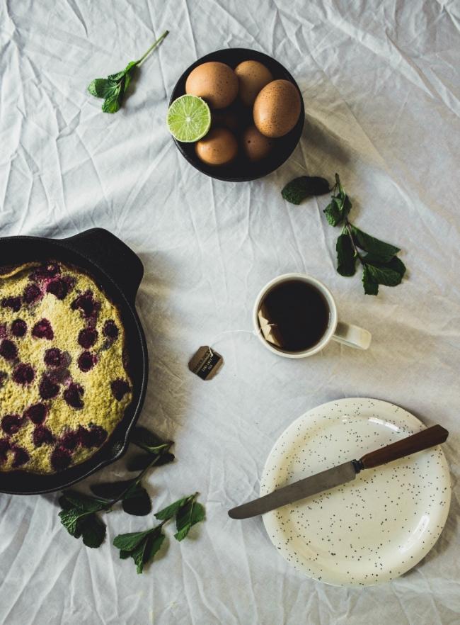 Gluten free raspberry clafoutis and minty lime mascarpone cream