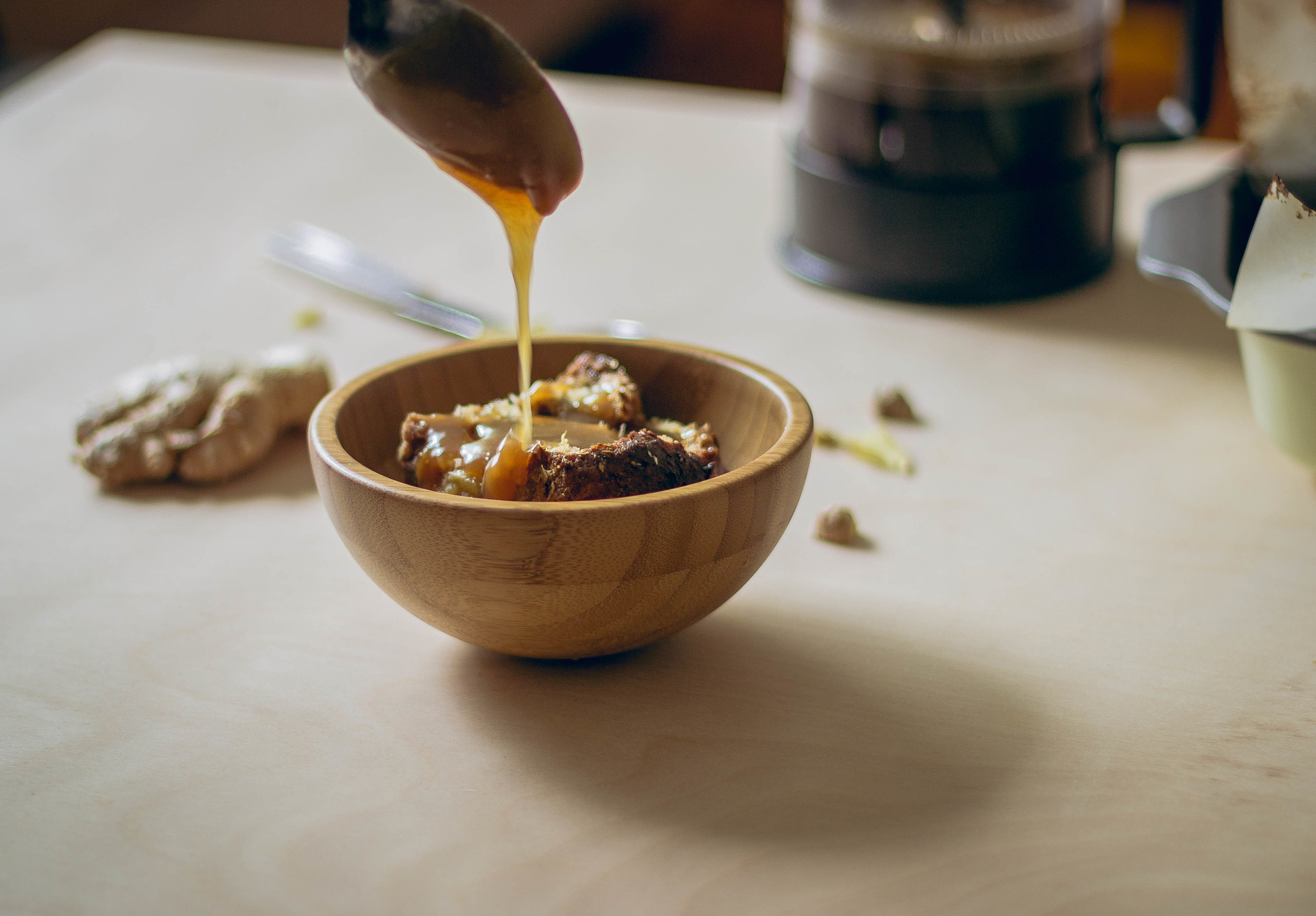 Ginger caramel sauce on bread pudding | by fit for the soul