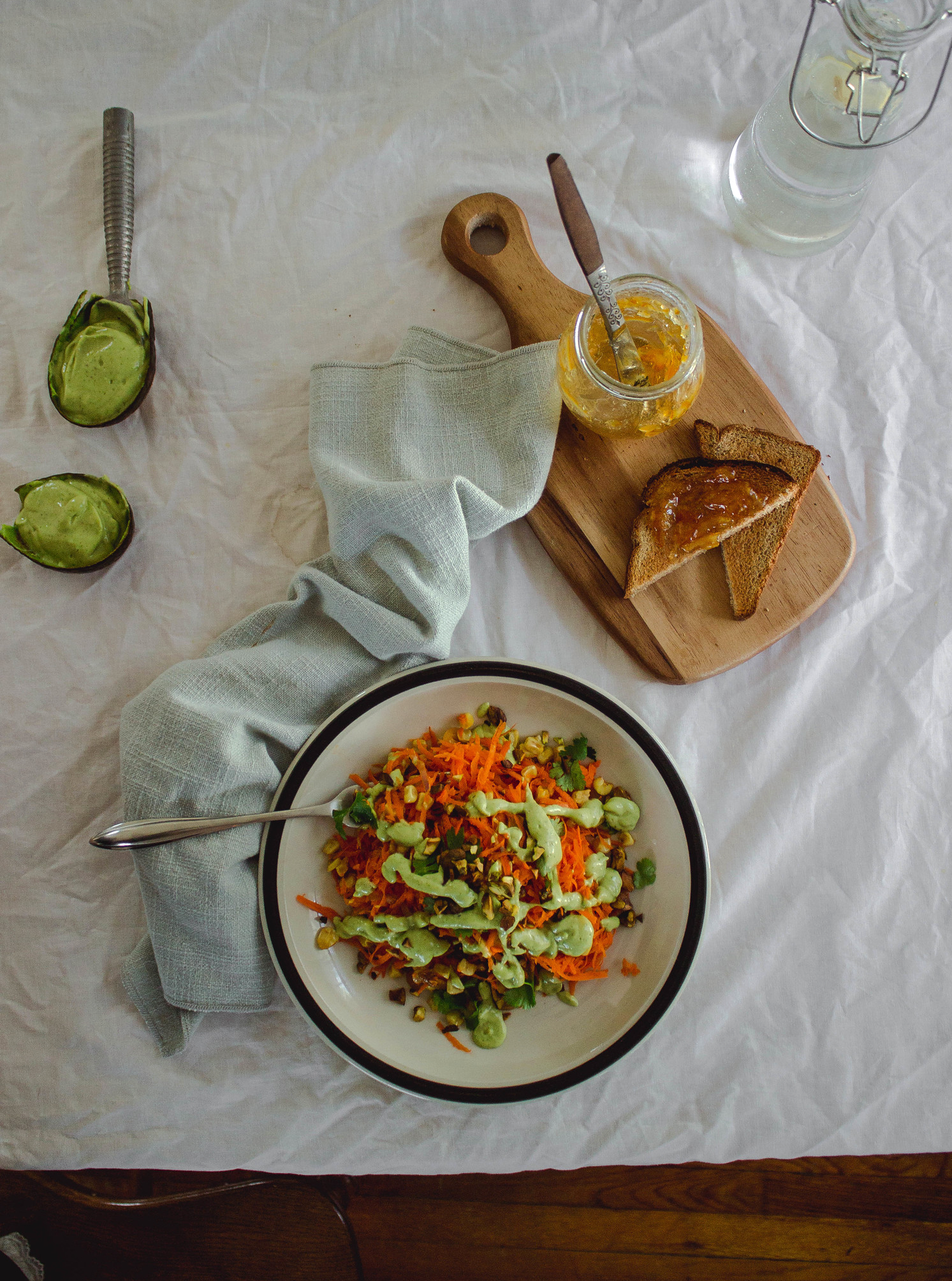 Carrot and pistachio salad with a lime avocado dressing   by fit for the soul