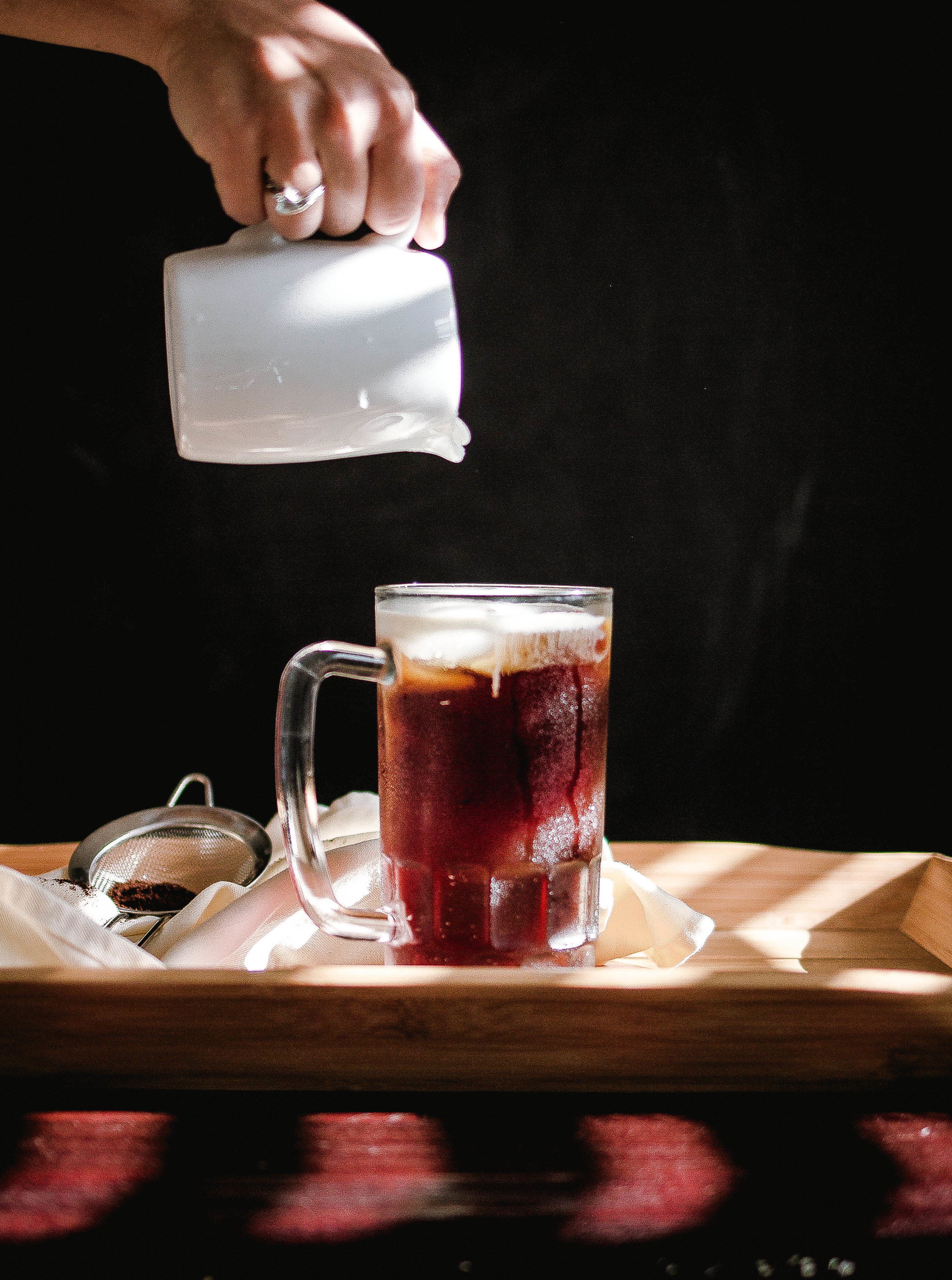 Recipe for Sea salt cream iced coffee like 85 degrees-Taiwanese style coffee pouring shot | by fit for the soul