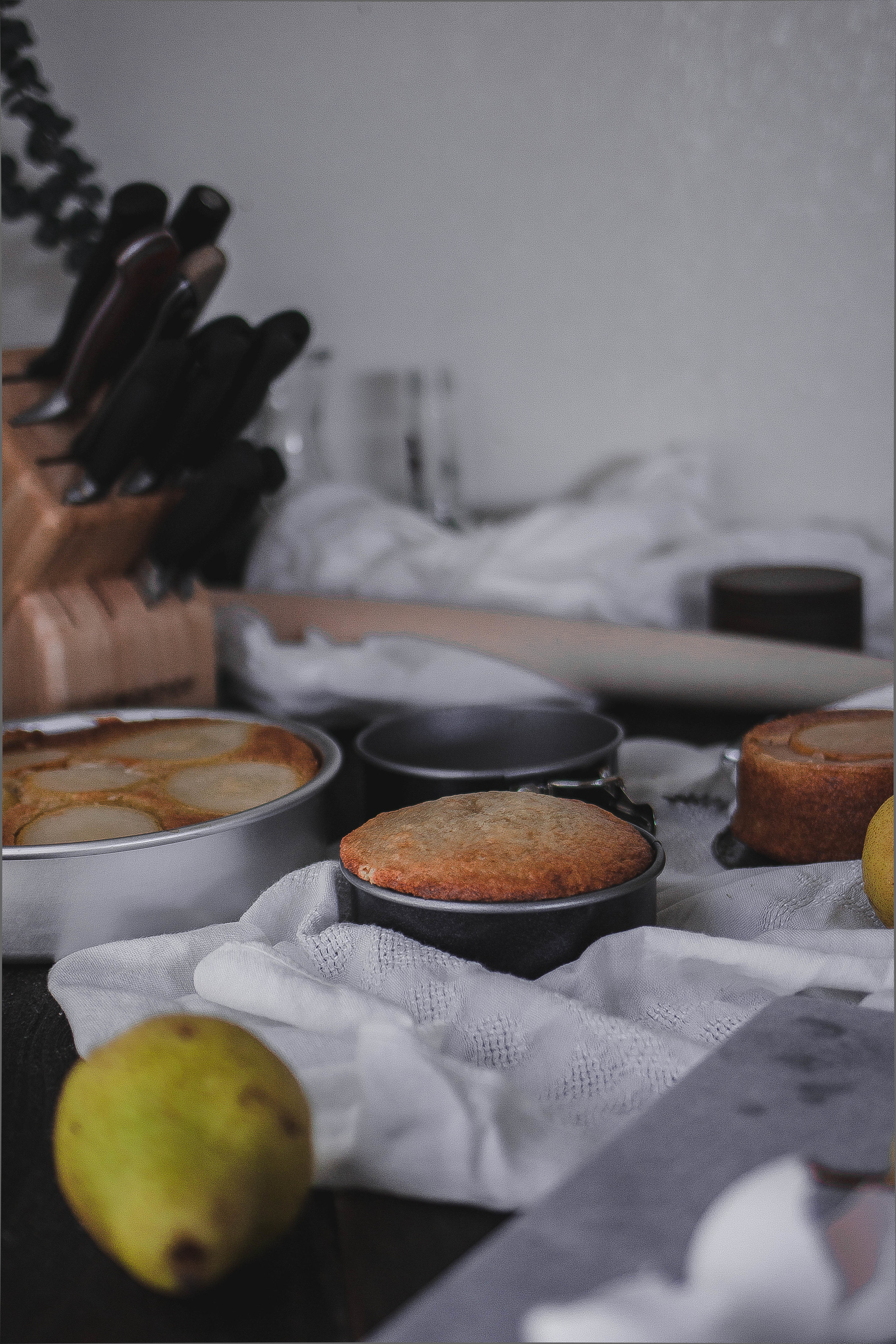 Yogurt coffee cake and drenching pears in liquor | by fit for the soul