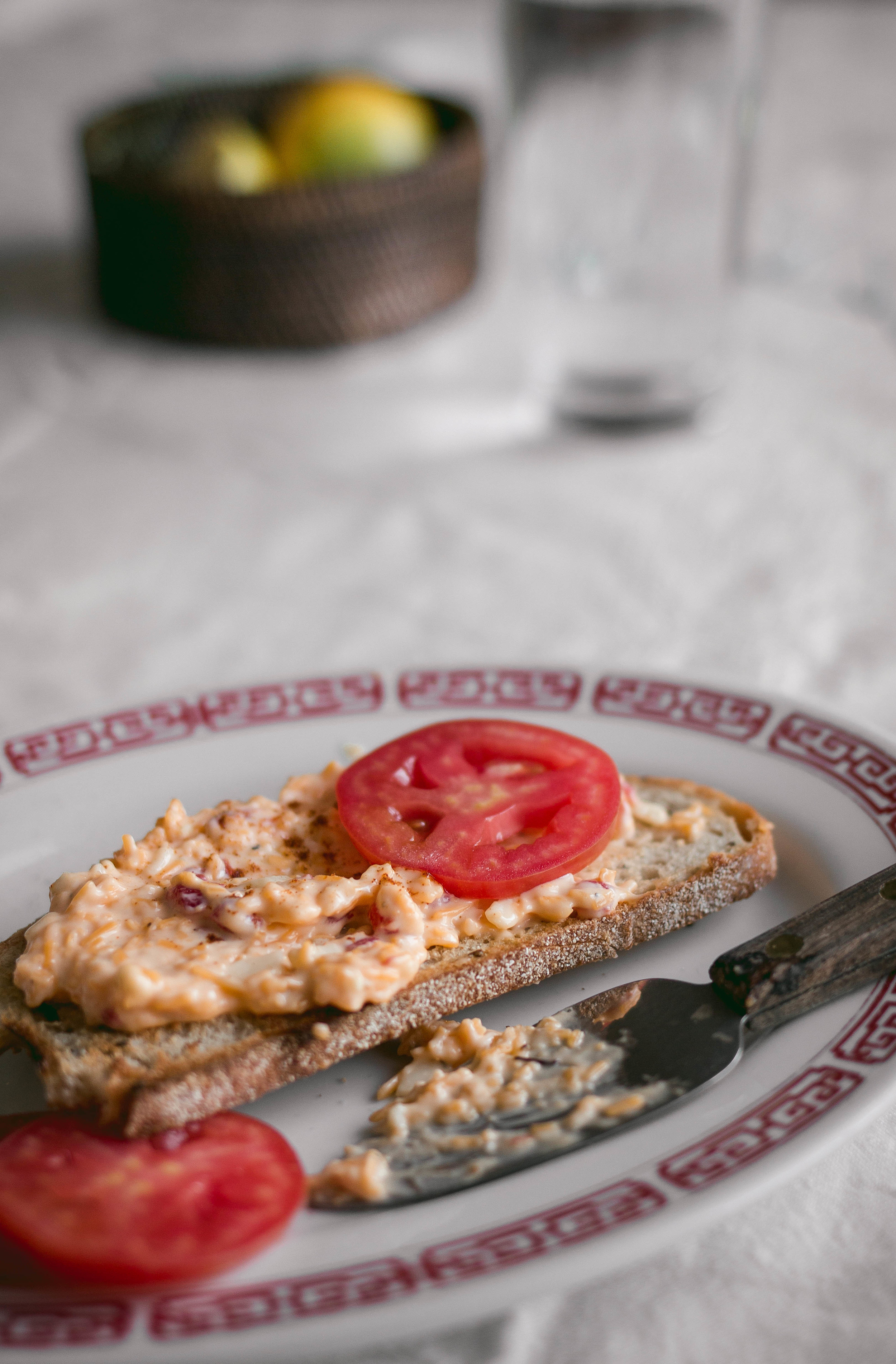 Pimiento cheese on toasted rye bread   by fit for the soul