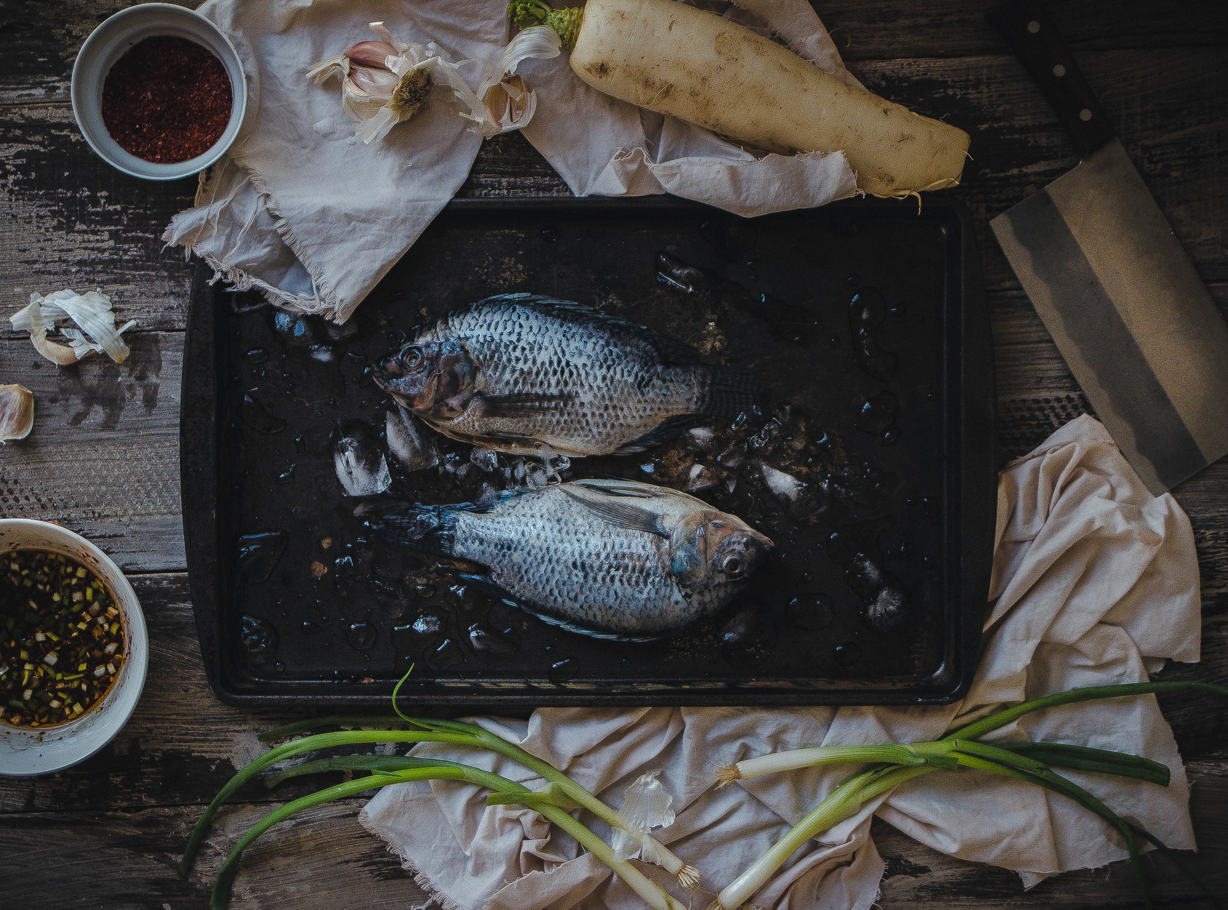 Korean spicy seasoned tilapia (yang-nyeom saeng-sun) | from scratch, mostly