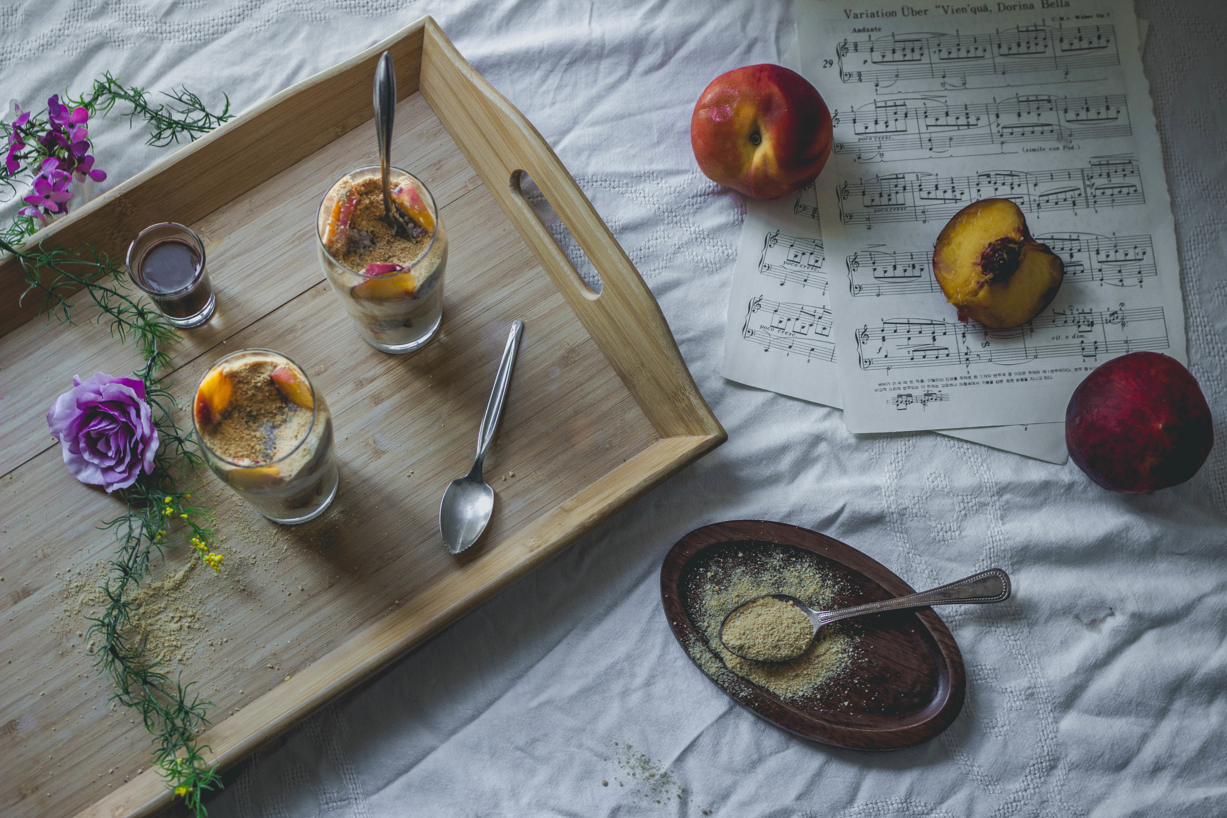 Chia Seed Peach Cheesecake Parfait with fudge recipe | from scratch, mostly