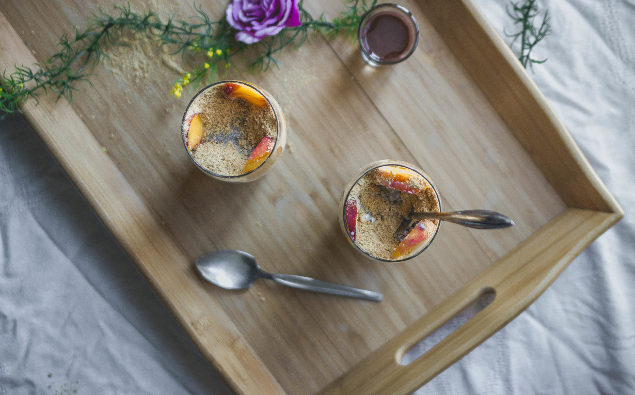 healthy dessert recipe ideas--chia peach cheesecake parfait with fudge | from scratch, mostly