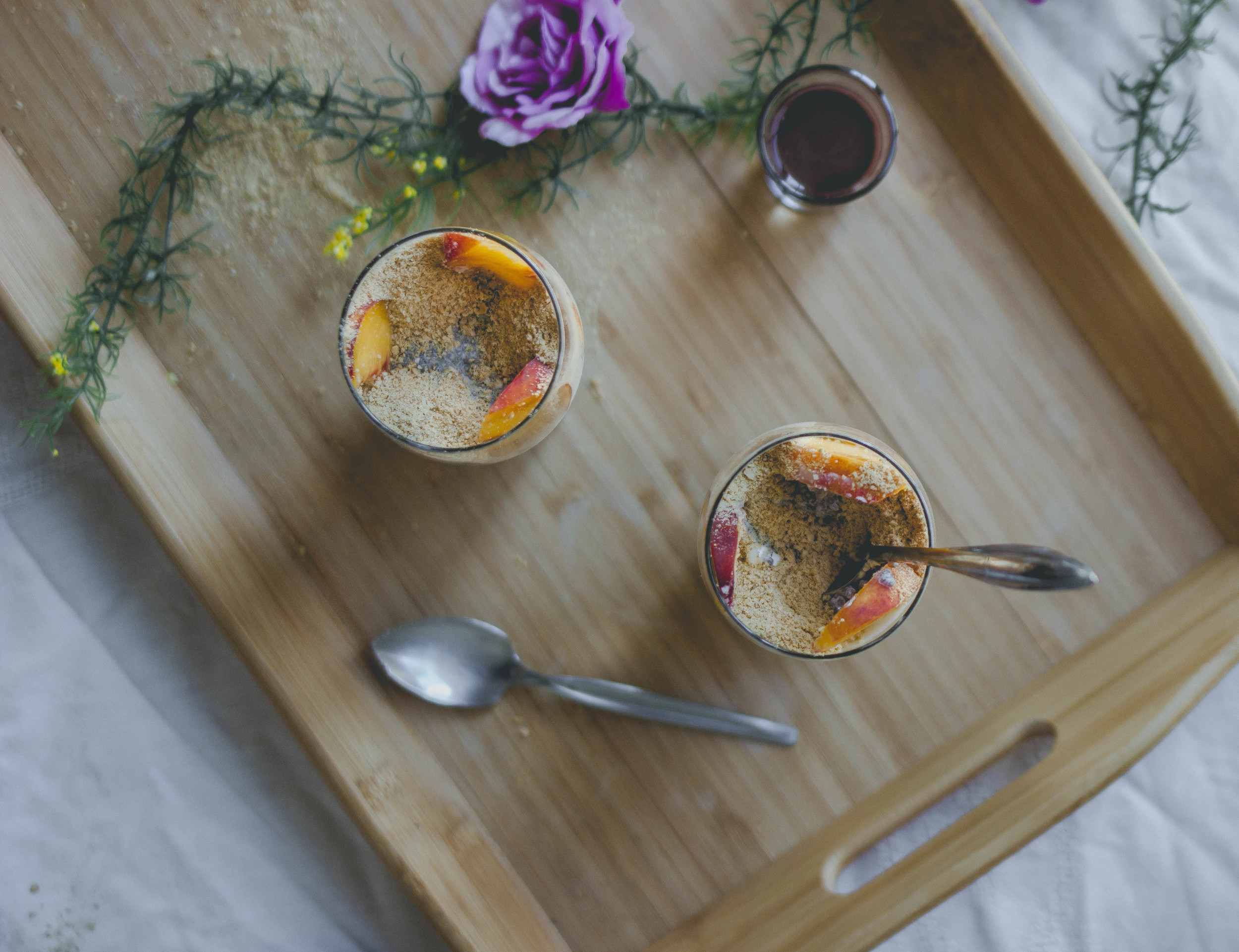 Chia Seed Peach Cheesecake Parfait with fudge | from scratch, mostly