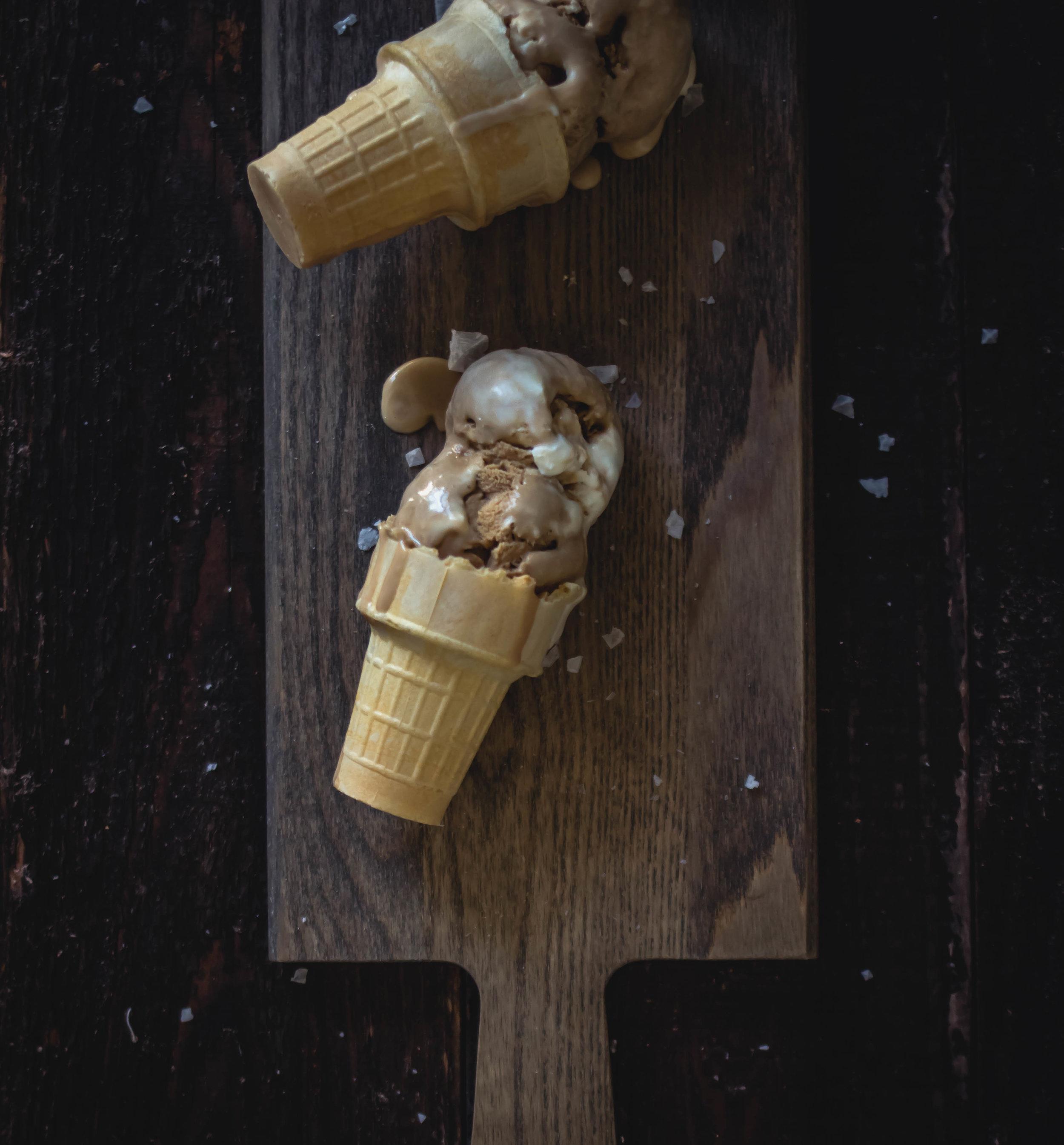 no-churn sea salt coffee ice cream recipe--easy step by step | from scratch, mostly