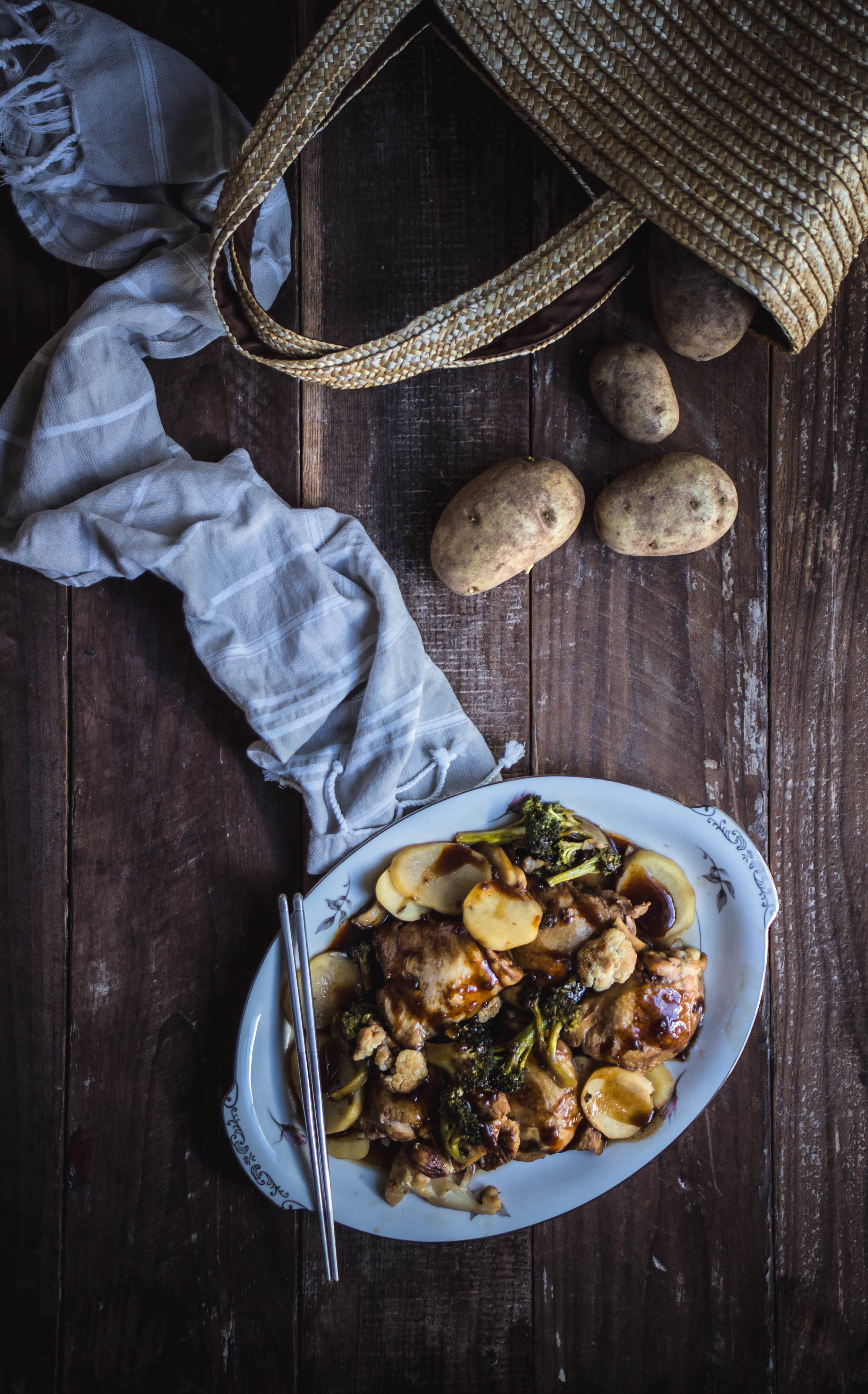 Caramel chicken and veggies recipe, adapted from Bon Appetit | from scratch, mostly