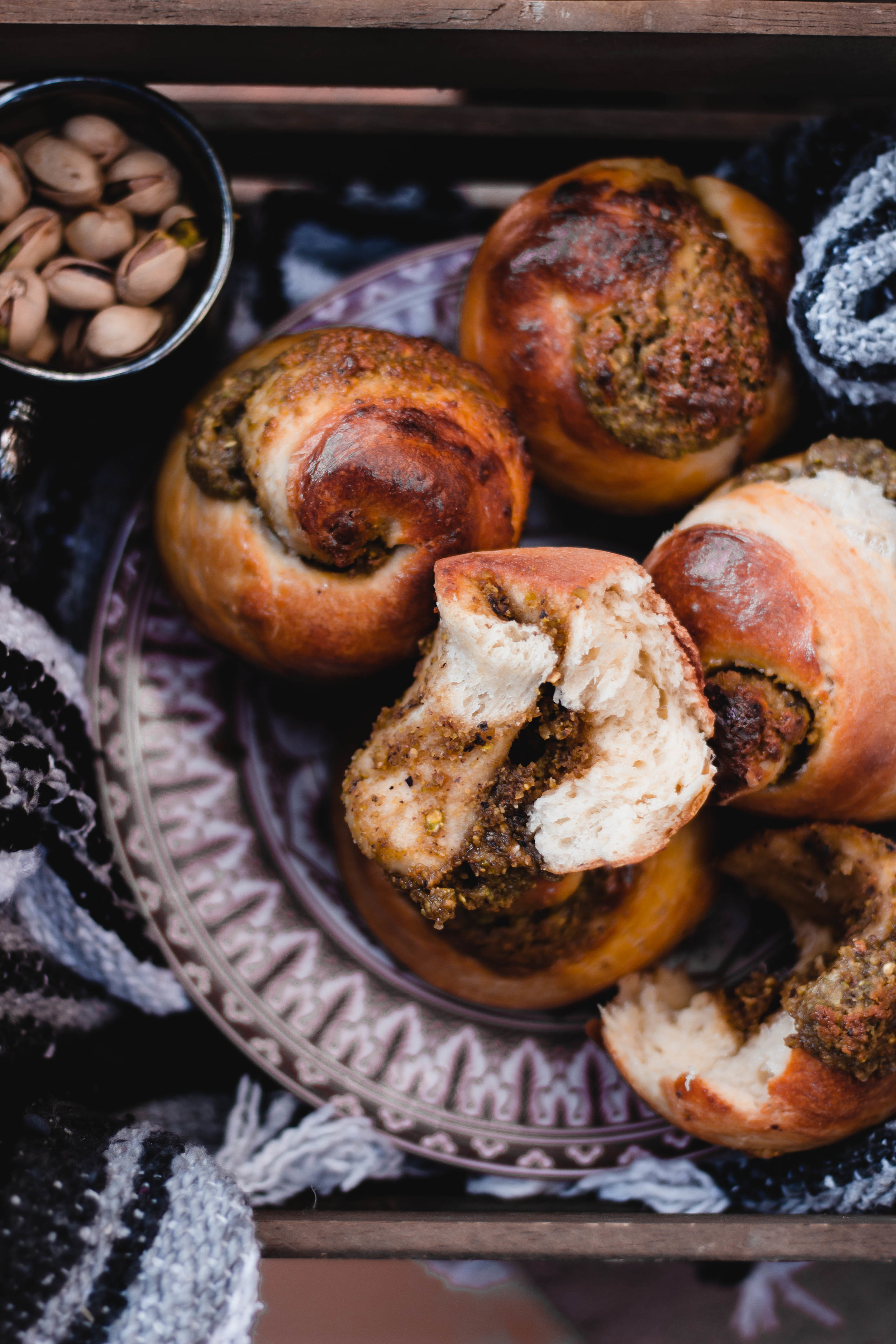 Brioche rolls with pistachio filling recipe | from scratch, mostly