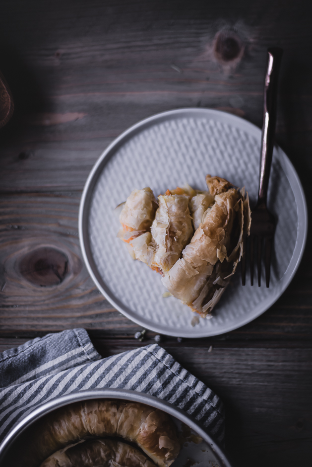 Savory breakfast Phyllo spiral rolls recipe | from scratch, mostly