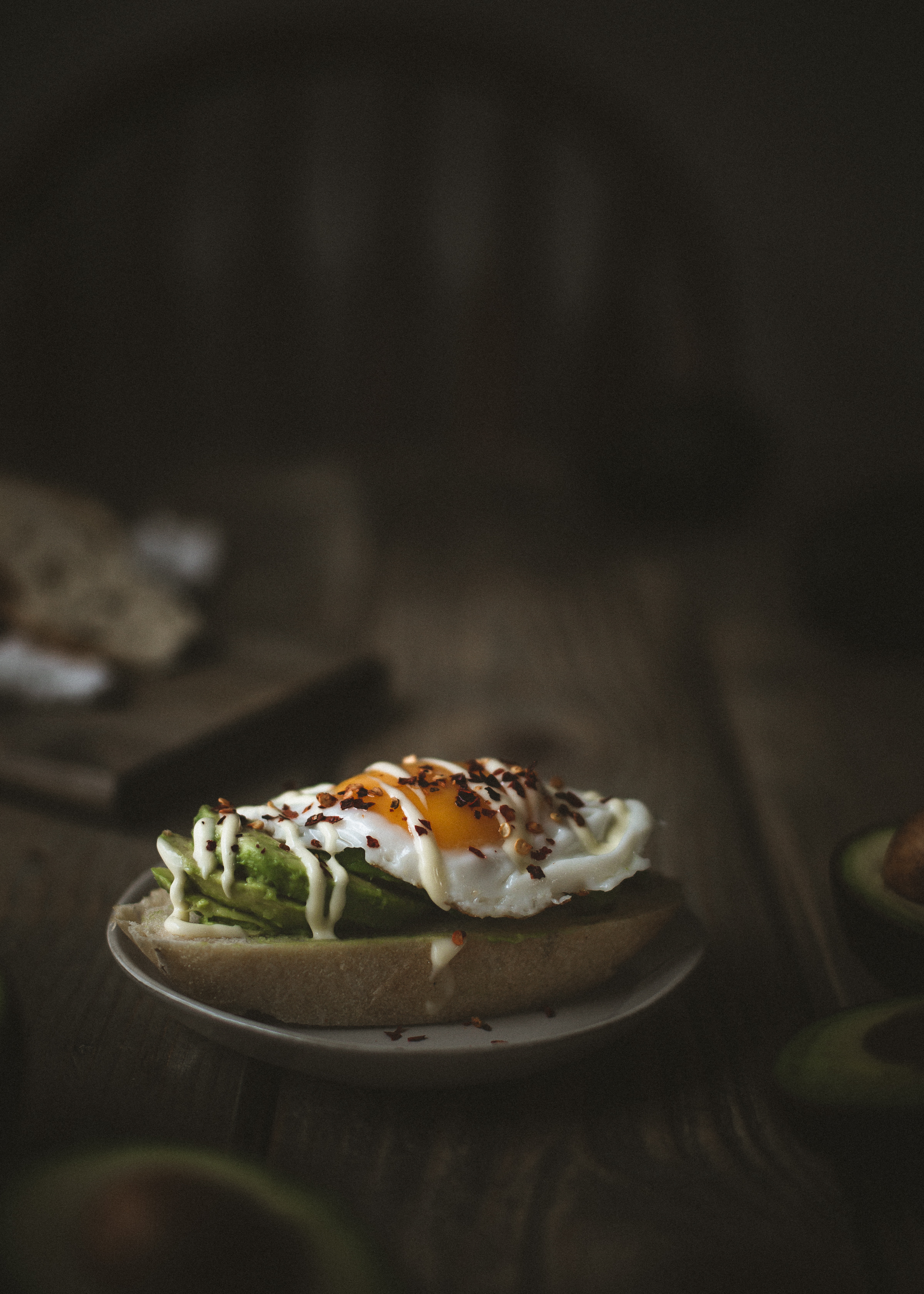 avocado toast with kewpie mayo and eggs