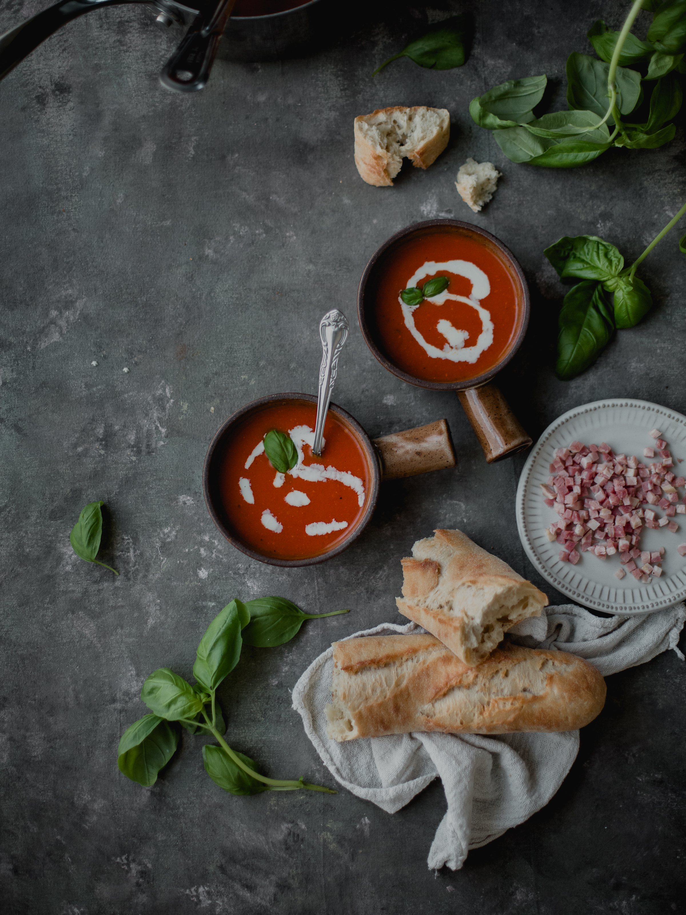 Creamy tomato pancetta soup for entertaining | from scratch, mostly blog