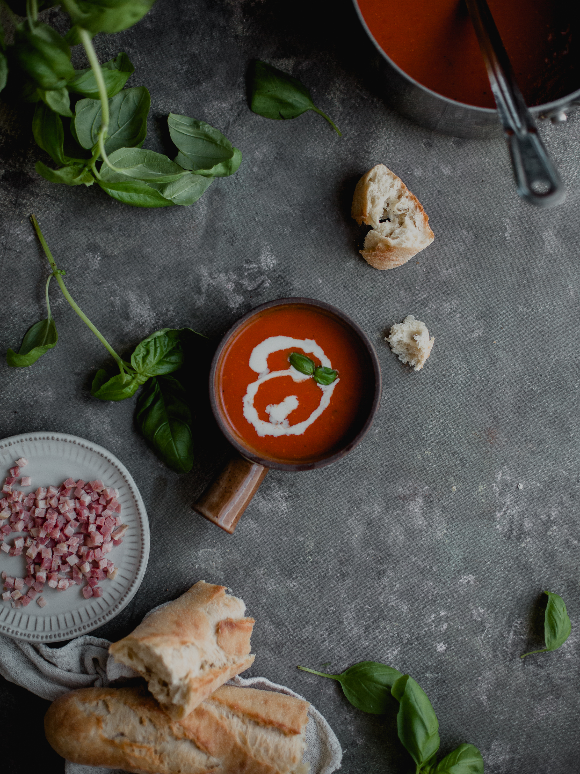 Creamy tomato pancetta soup for gatherings | from scratch, mostly blog