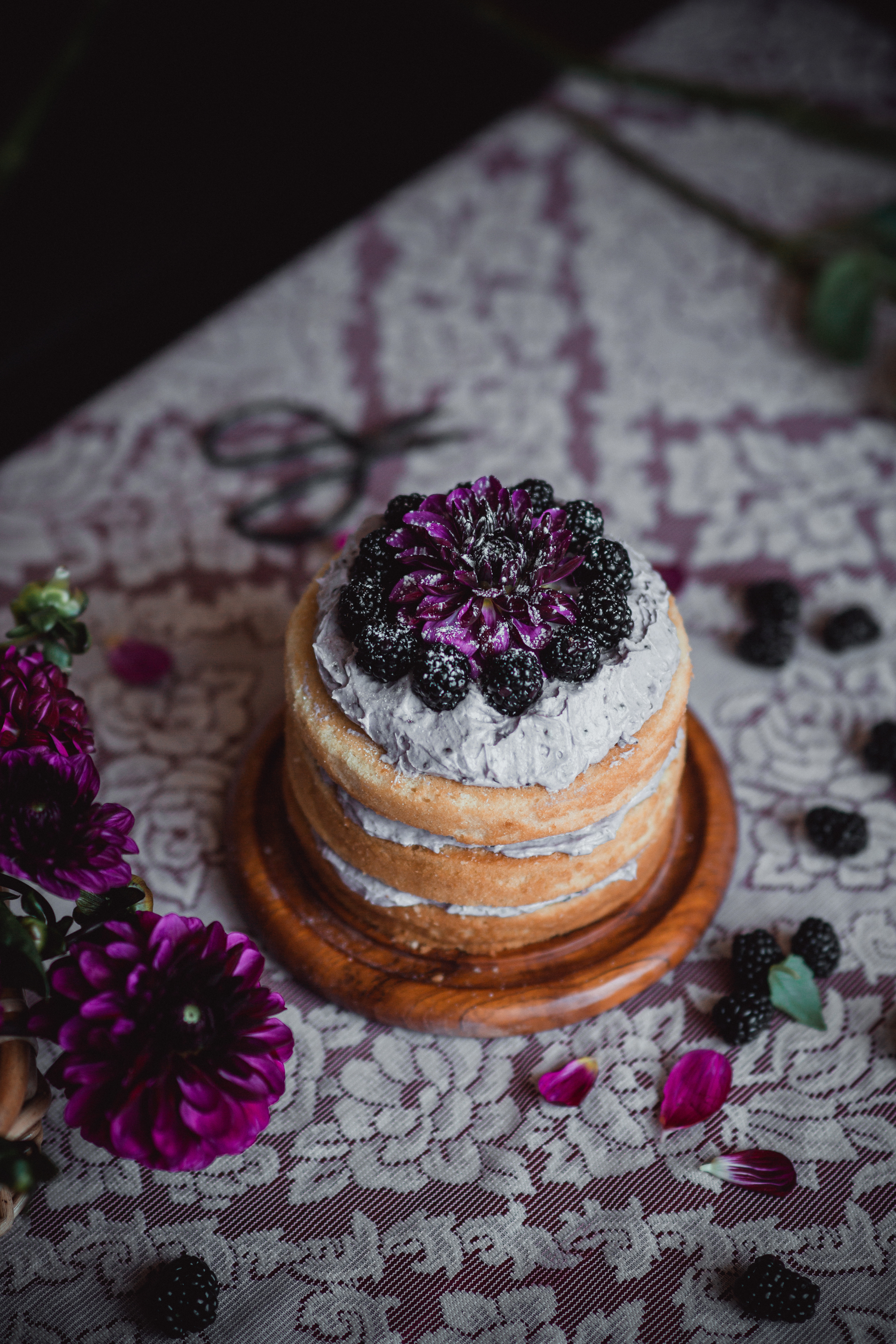 Vanilla butter naked cake with blackberry swiss buttercream | from scratch, mostly blog
