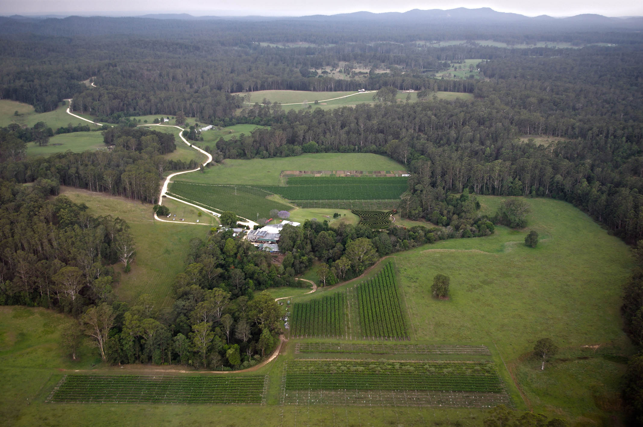 Aerial view of Bago Farm