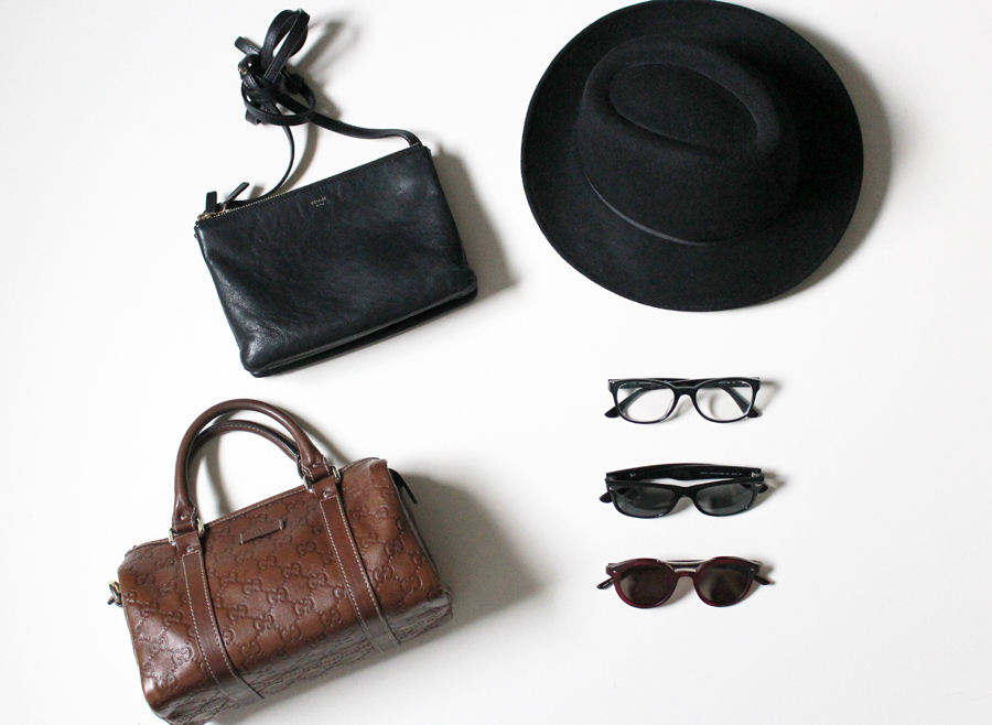 Céline Trio Bag, Gucci Mini Boston bag, Topshop hat, Ferragamo, Ray-Ban and Armani glasses