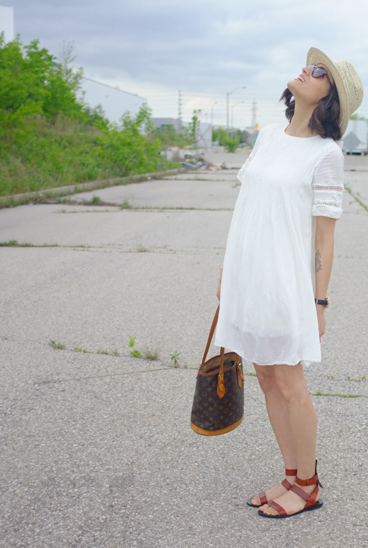 WoahStyle.com | White Dress Street Style, Aritzia, Louis Vuitton, Alexander Wang
