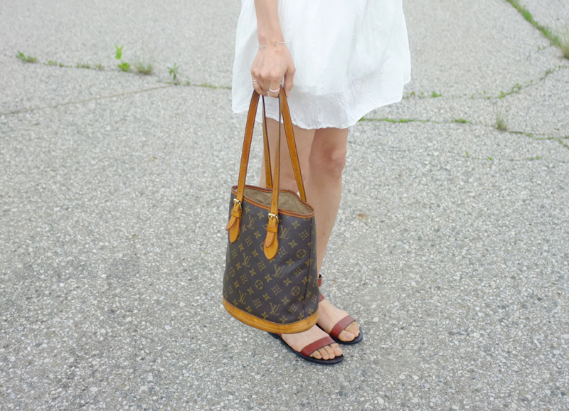 WoahStyle.com | Louis Vuitton petit monogram bucket bag, Alexander Wang Annette Sandals, Aritzia white dress
