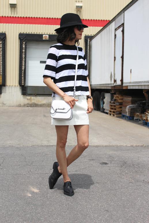 WoahStyle.com | Rag & Bone, Acne skirt, Helmut Lang oxfords, Mackage white Novaki bag