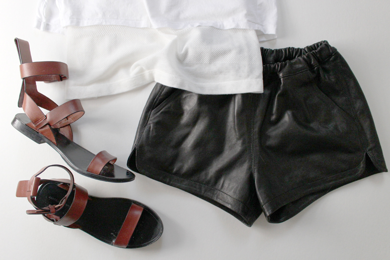 WoahStyle.com | Leather shorts, white shirt, Alexander Wang #streetstyle approved