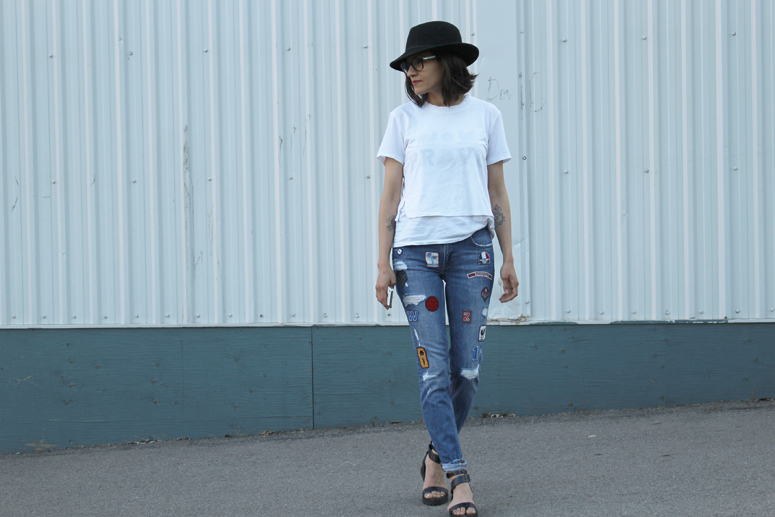WoahStyle.com | Zara Patched denim street style with Alexander Wang Jade sandals