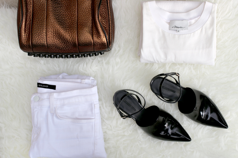 WoahStyle.com | Alexander Wang Bronze Rocco and Inga shoe, Jbrand white jeans, 3.1 Phillip Lim shirt