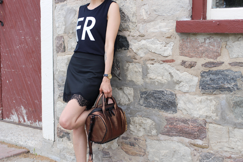 WoahStyle.com | Lace Skirt Street Style with Alexander Wang Rockie