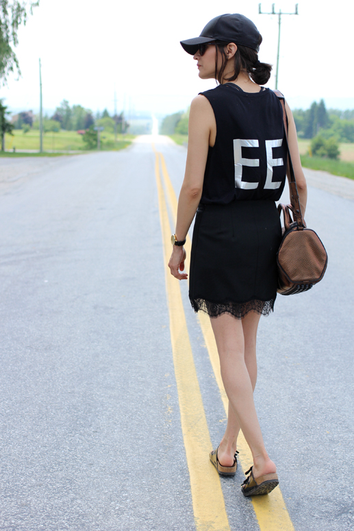 WoahStyle.com | Lace Skirt & Ball Cap Street Style with Alexander Wang Rockie