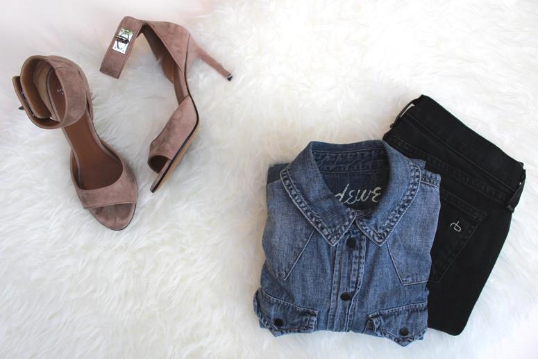 WoahStyle.com | Givenchy Tan Suede Shark Lock Sandal, Rag & Bone jeans and chambray shirt
