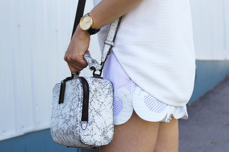 WoahStyle.com | 3.1 Phillip Lim tank, Stella McCartney white shorts and 3.1 Phillip Lim Small Ryder Bag