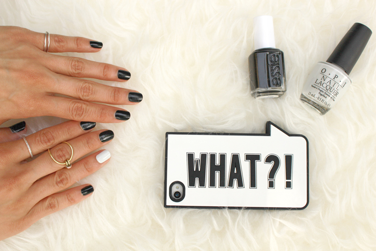WoahStyle.com | Black and white manicure and Zara WHAT?! iPhone case