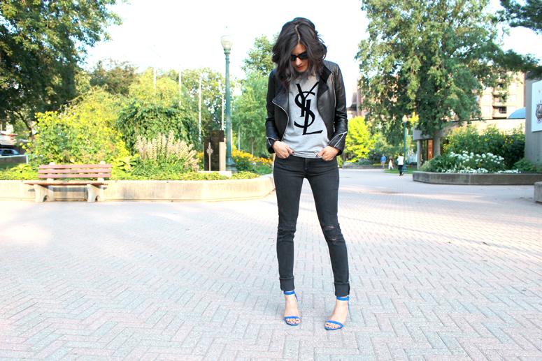 WoahStyle.com | YSL tshirt, Mackage leather jacket, Distressed Rag & Bone jeans and Alexander Wang Antonia sandals in Royal street style