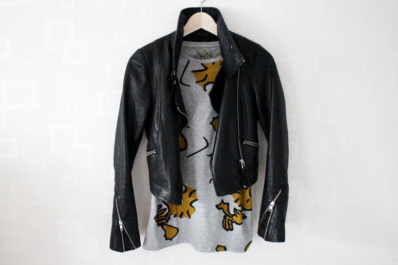 WoahStyle.com | Zara Peanuts edition Woodstock tshirt with Mackage leather jacket