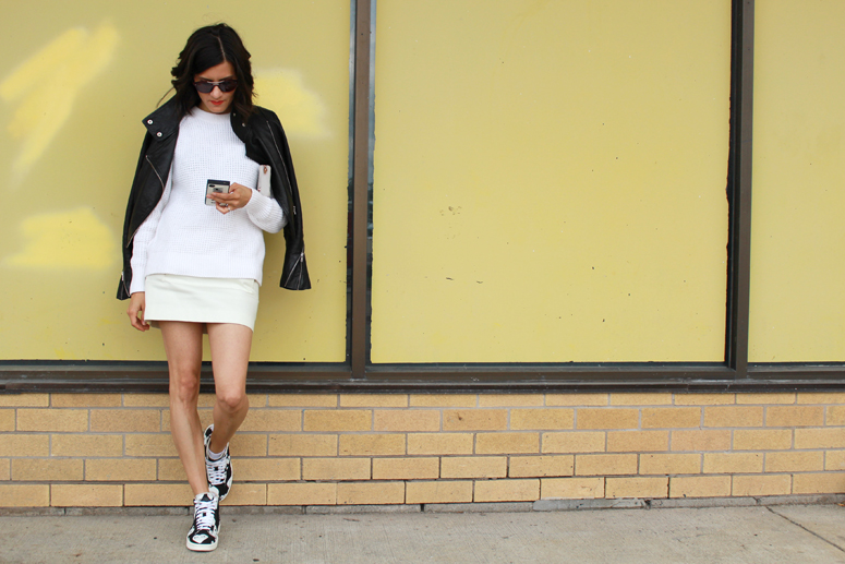 WoahStyle.com | White After Labour Day | Mackage leather jacket, Acne Studios Sweater and skirt, Converse x Comme des Garçons sneakers #streetstyle